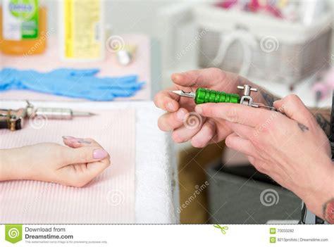 tattoo process close up tattoo artist at work close up stock photo image 70033282