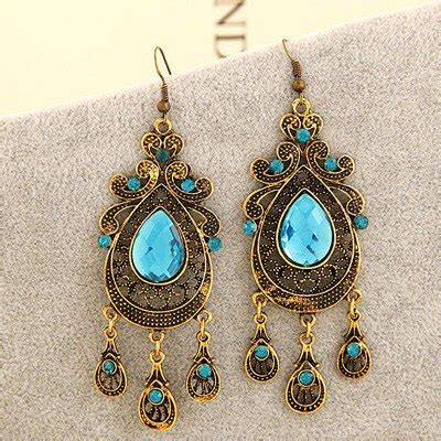 Set Kalung Anting Hollow Out Water Drop Pattern Design portable sky blue hollow out water drop shape design alloy korean earrings asujewelry
