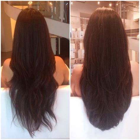 ig kittydoeshair before left and after right long layered