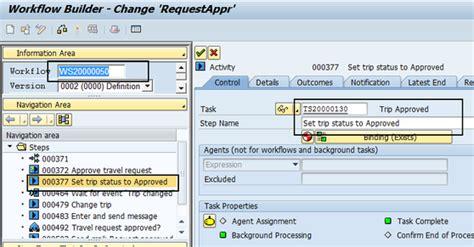 sap workflow status workflow customizings in travel management erp human