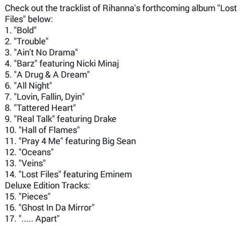 Rihanna Album Tracklist And Listen To The Entire Album Now by Rihanna R8 Track List Leaks Www Realmrhousewife