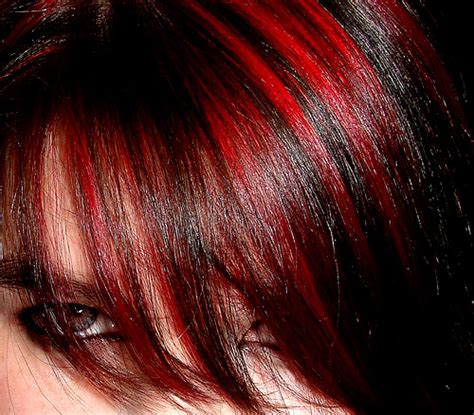pictuted of red highlights on dark hair with spiky cut 25 groovy black hair with red highlights pictures