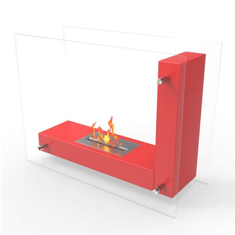 avec ventless free standing ethanol fireplace in