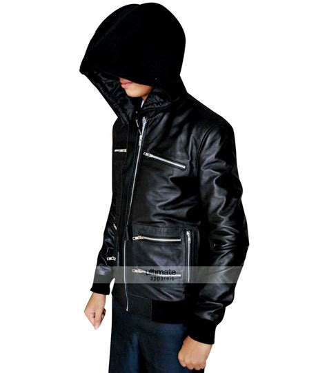 eminem jacket eminem grammy awards bear collar hooded biker jacket