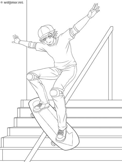 Le skateboarder : coloriage Sports gratuit sur Webjunior