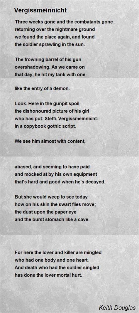 A Place Poem Douglas Wood Vergissmeinnicht Poem By Keith Douglas Poem