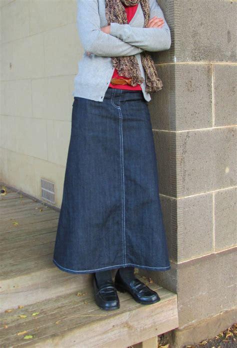 denim jean skirt modest maxi custom made 4 with