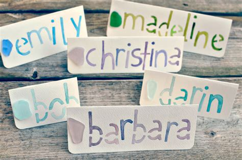 diy name cards diy sea glass and watercolor name cards