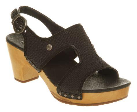 ugg sandal ugg lomita heeled sandal black leather in black lyst