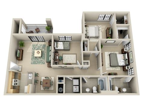 3 bedroom and 3 bathroom apartments 3 bedroom bath apartment floor plans