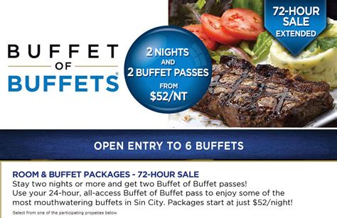 Buffet Of Buffets 2 Free Buffet Passes With 2 Night Hotel Buffet Las Vegas Coupon