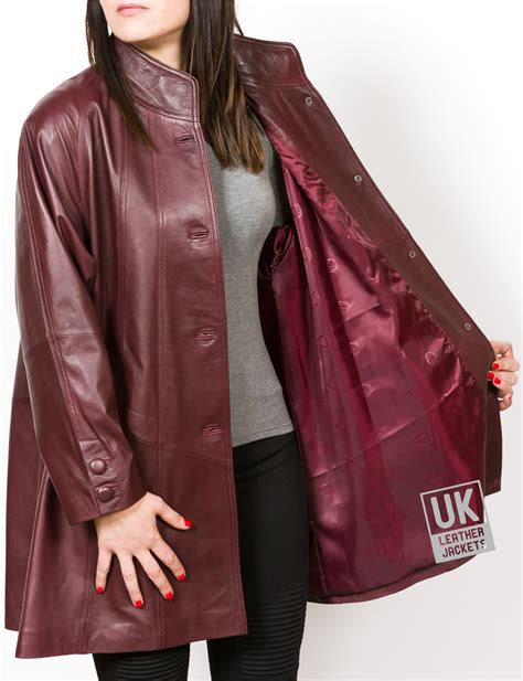 womens leather swing coat womens burgundy leather swing coat jewel uk lj