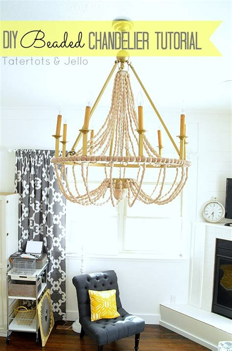 Build A Chandelier How To Make A Diy Wood Beaded Chandelier Tatertots