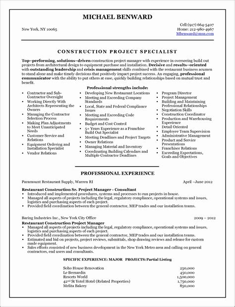 Project Manager Resume Format Resume Template Project Manager Exle Construction Project Construction Management Template