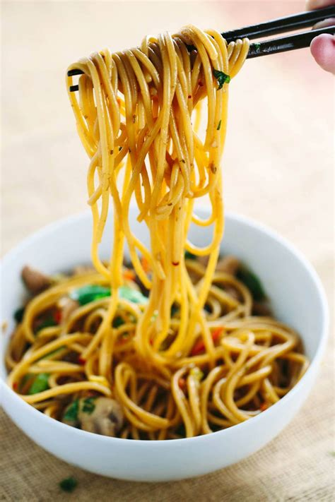 Kitchen Cabinets For Less by Stir Fried Garlic Noodles With Chicken And Vegetables
