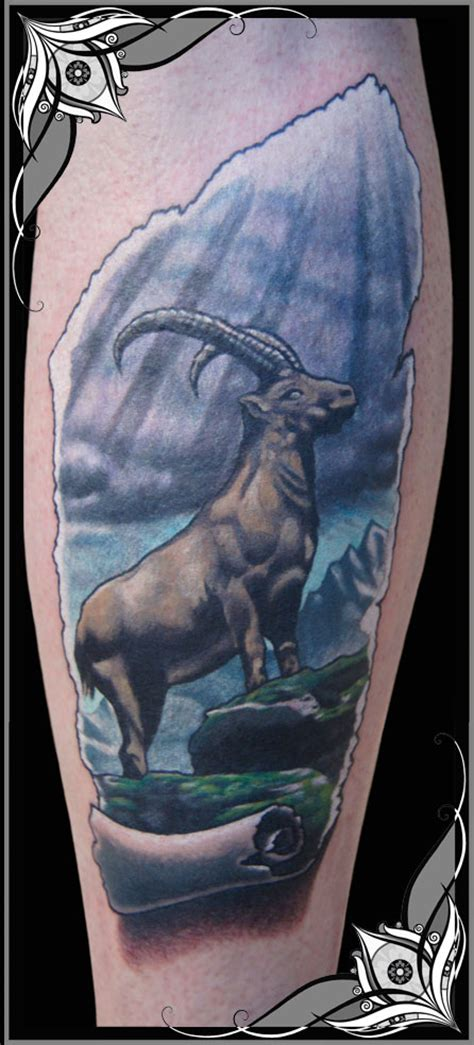 mountain goat color ink tattoo