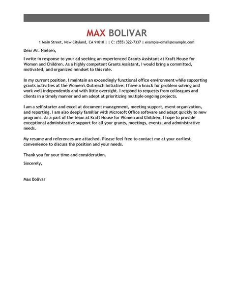 Cover Letter For Unrelated Best Grants Administrative Assistant Cover Letter Exles