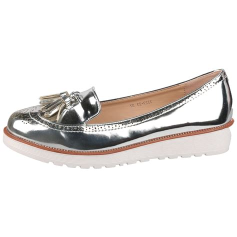 metallic flat shoes pumps womens flat shoes loafers tassel fringe