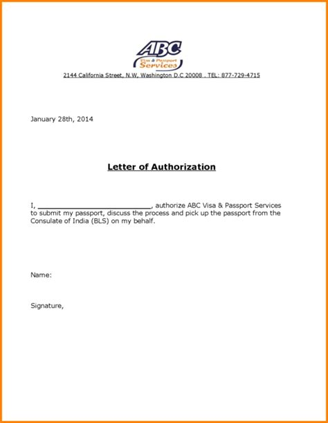 Visa Letter Of Authorization Career Cover Latter Write Letter Of Authorizati Candle Wood