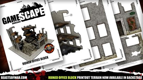 Ruined Office Block Print out Terrain Download