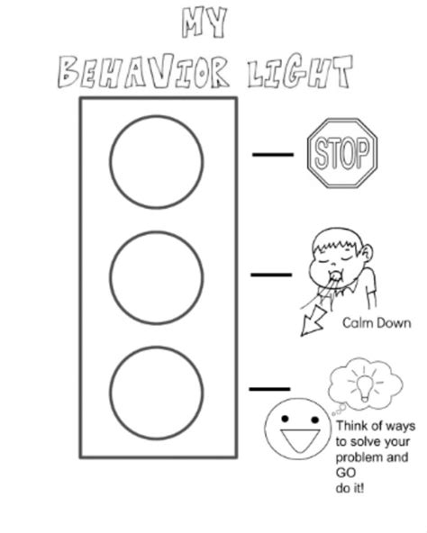 what color calms you down behavior stop light coloring page i created for my kiddos