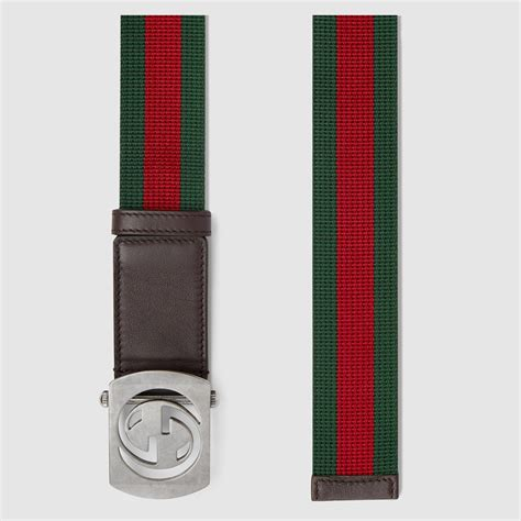 Belt Gucci Canvas Gold Premium gucci canvas belt with cut out g buckle in for lyst