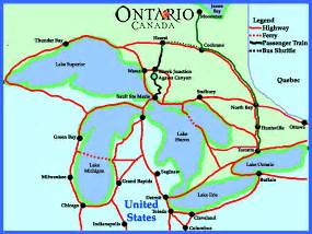 map of michigan and ontario canada agawa tour and algoma central railway
