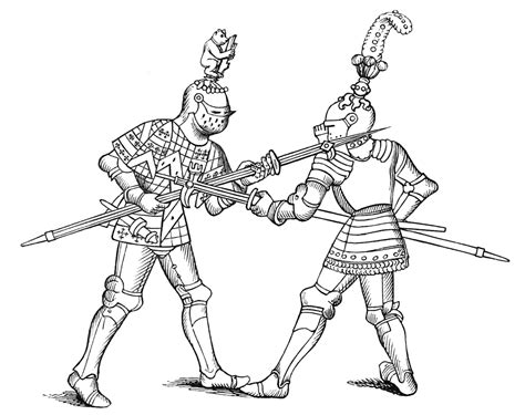coloring pages of fighting knights medieval clipart
