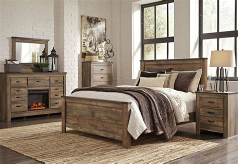 ashley furniture  trinell modern queen  king panel bed frame bedroom set ebay