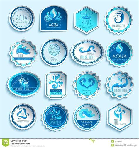 water label design vector water labels set stock vector image 53254725