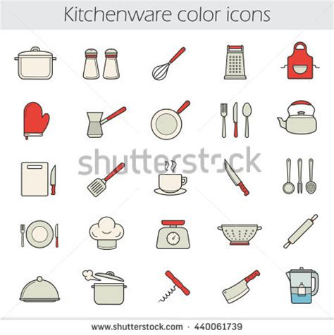 Cooking Instruments Color Icons Set Kitchen Stock Vector
