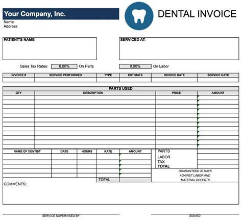 dental receipt template free dental invoice template invoice template ideas