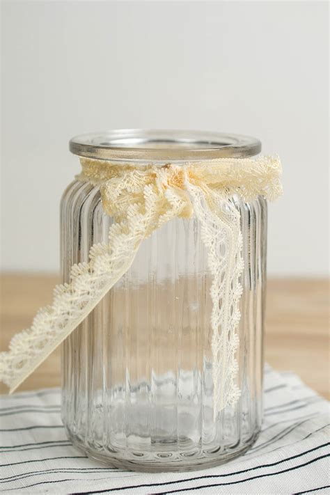 Glass Jar Vase by Lattice Glass Jar Vase 5 5in Ivory Lace Bow