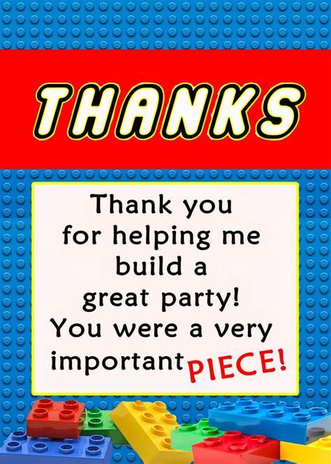 Thank You Card Mini Tema Lego invite and delight lego birthday