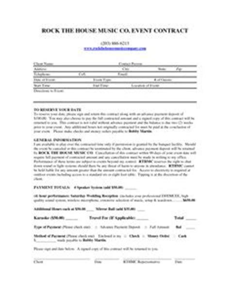 disc jockey contract template free and printable disc jockey contract form rc123