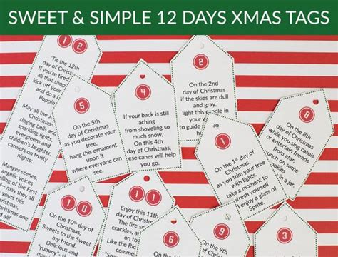 12 days of christmas gifts poems sweet simple 12 days of poem tags gift etsy