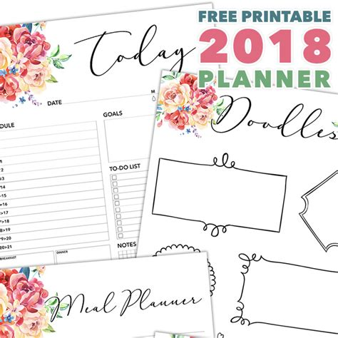 printable planner pages 2018 free printable 2018 planner 50 plus printable pages the