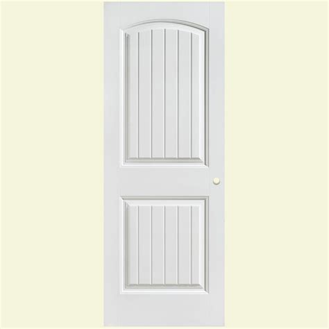 Primed Interior Doors Masonite 28 In X 80 In Cheyenne Smooth 2 Panel Camber Top Plank Hollow Primed Composite