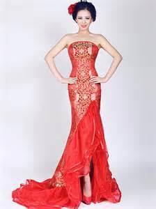 Red mermaid sleeveless brocade cheongsam qipao chinese wedding dress