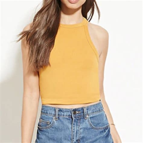 Forever21 Mustard Crop 50 forever 21 tops never worn f21 mustard yellow