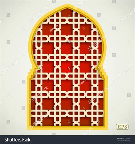 arabic islamic pattern arch frame arabic islamic pattern arch frame stock vector