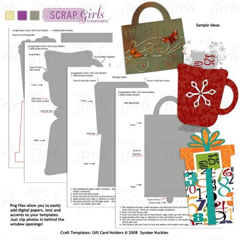 gift card craft template scrapsimple craft templates gift card holders