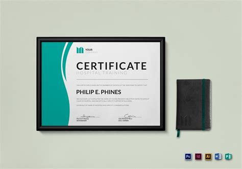 certificate design mockup hospital training certificate design template in psd word