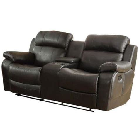 Black Leather Reclining Loveseat With Console Homesullivan Kenwood Bonded Leather 1 Reclining