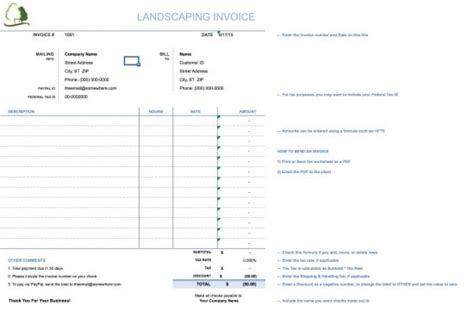 Free Landscaping Lawn Care Service Invoice Template Excel Pdf Word Doc Landscaping Bill Template