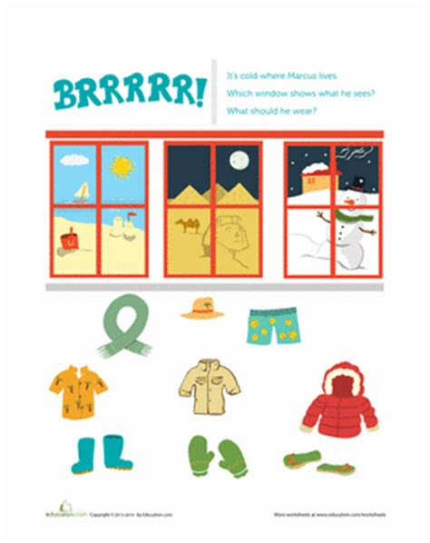 clothes for different seasons worksheet brrrr clothing cause and effect worksheet education com