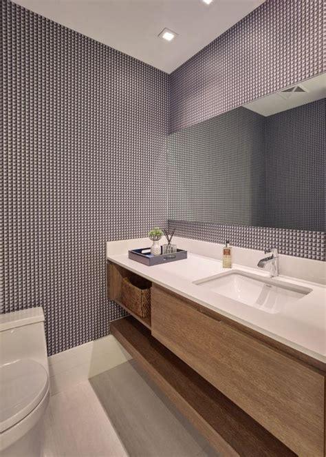 gray modern powder room  graphic wallpaper hgtv