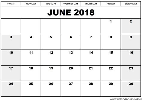 june 2018 monthly calendar printable templates printable