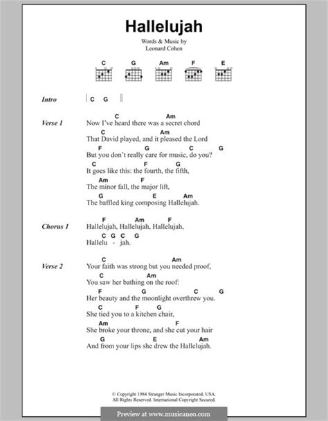 printable lyrics hallelujah hallelujah by l cohen sheet music on musicaneo