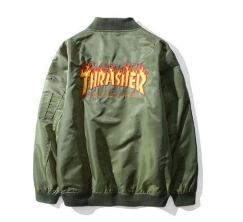 Jaket Bomber Trasher thrasher jacket skateboard windbreaker bomber